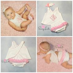 Shabby Chic Ruffle Bottom outfit with Open back with Shabby Flower headband  Simply Stunning This delicate outfit features a beautiful monogram