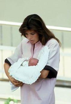 Princess Caroline of Monaco with newborn daughter Charlotte Casiraghi,leaves the clinic in Monaco.August 6,1986.