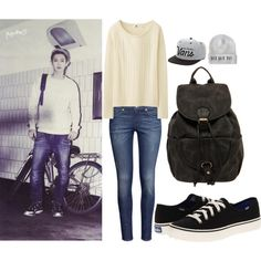 EXO Growl Album Photo Chanyeol Inspired Outfit by smokingcrayonz on Polyvore featuring Uniqlo, H&M, Keds, Boohoo and Vans