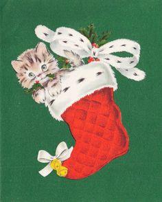 Christmas Kitten. Christmas Stocking. Vintage Christmas Card. Retro Christmas Card.