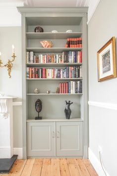 Grey fitted alcove cabinets – Jennings-Bramly Furniture Ltd - Home Professional Decoration Living Room Cupboards, Living Room Bookcase, New Living Room, Home Living, Living Room Decor, Kitchen Living, Cosy Cottage Living Room, Kitchen Bookcase, Small Living