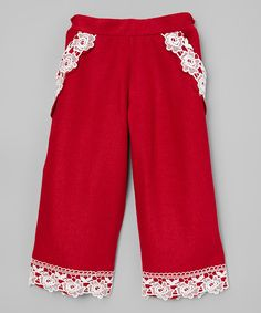 Look what I found on #zulily! Sweet Charlotte Red Lace-Pocket Trousers - Infant, Toddler & Girls by Sweet Charlotte #zulilyfinds