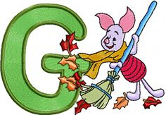 Piglet letter G free embroidery design