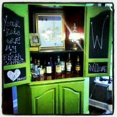 Revamped armoire made into a bar chalk painted ; Bar Hutch, Remodels, Entertainment Center, Chalk Paint, Dyi, Armoire, Liquor Cabinet, Entertaining, Inspiration