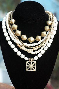 Multi-Strand White Bone, Bronze and Ashanti Shield Statement Necklace