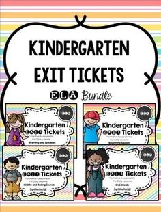 Kindergarten Exit Tickets: ELA Bundle -quick daily assessments for beginning sounds, rhyming, syllables, middle and ending sounds, and CVC words!