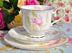 Royal Wessex Camellia Vintage China Teacup Trio