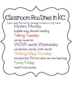 Joyful Learning In KC: Morning Message & Routines