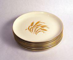 Homer Laughlin Set of 8 Golden Wheat Luncheon Plates. $24.00, via Etsy.
