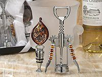 Murano Collection Wine Opener and Wine Stopper Set Wedding Favors
