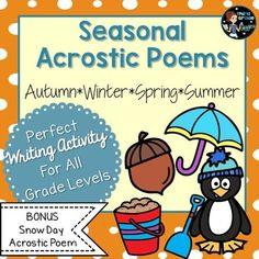 Acrostic Poem Templates Acrostic poems for each season! Kindergarten Poetry, Acrostic Poems, Alliteration, Poetry Books, Math Lessons, English Language, Language Arts, Literacy, Templates