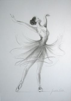 ORIGINAL pencil drawing 12 x 8 on WHITE paper of BALLERINA by Ewa Gawlik.