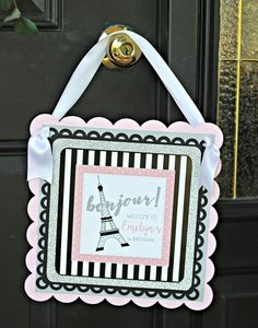 Girl / Paris Birthday Party Welcome Sign.  12x12, Physical Product.  French / Eiffel Tower party decoration.  Pink, Silver, Black.  Any Age.