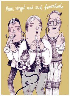 nun singet und seid froh adventliche illustration von diana koehne