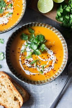 Miso Pumpkin Soup (V GF). This miso pumpkin soup is warming filling and spicy if you want it to be. Serve it with bread or pan-roasted spiced chickpeas! Vegan Pumpkin, Pumpkin Soup, Pumpkin Recipes, Soup Recipes, Vegan Recipes, Pumpkin Hummus, Vegan Soups, Spicy Recipes, Free Recipes