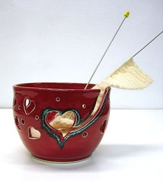 Yarn Bowl KNITTING Bowl Crochet Bowl Spring Red Hand Thrown Pottery by blueroompottery, $38.00