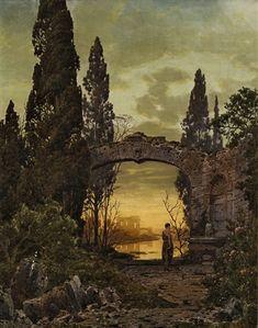 Abendliche Ruinenlandschaft mit junger Frau an einem Brunnen by Ferdinand Knab