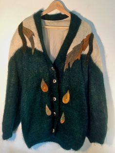 Vintage Large Mohair Cardigan Green and White by Bethmakesthings e55cb2e25