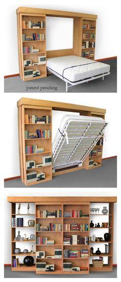 Tolle Ordnungslösungen Schrankbett hinter Bücherregalen von MömaX  / Library Murphy Bed