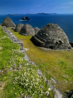 Beehive Huts on the Island of Skellig Michael off the Coast of Kerry ireland.  _____________________________Do feel free to visit us on WWW.WONDERFULIRELAND.IE ... for lots more pictures and stories of Ireland.