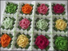 crocheted rose granny squares.  enough squares would make for a perfect blanket for Liz