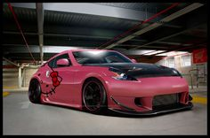 Hello Kitty Car-My daughters dream car. Goodbye Kitty, Hello Kitty Car, Here Kitty Kitty, Cute Car Decals, Miss Kitty, Nissan 370z, Cute Cars, Cute Characters, Just Amazing