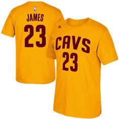 Men's Cleveland Cavaliers Lebron James adidas Gold Net Number T-Shirt