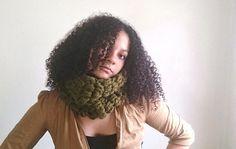 Crochet cowl  Green chunky scarf  Cilantro by reneeoriginals1, $45.00 #fashion #Moda #Cowl #cowlscarf #circlescarf #woolscarf #fallfashion #winterfashion #estilo #morena #brunette #model #handmade #etsy #curlyhair #uniquegift #green