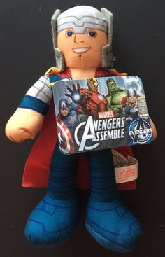 Thor MARVEL AVENGERS ASSEMBLE MIGHTY THOR PLUSH 9-10 amp  034  Action Doll 7e091c794b0