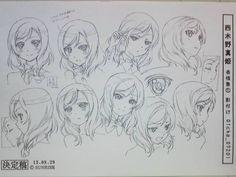 ラブライブ 真姫 表情 Character Model Sheet, Character Modeling, Character Drawing, Character Design, Manga Art, Manga Anime, Expression Sheet, Maki Nishikino, Manga Drawing Tutorials