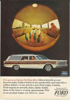 Ford Station Wagon BOWLING ALLEY Game Original 1965 Vintage Print Ad Color Photo White Wood Automobile Car