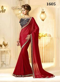 New Arrival Of Designer Red And Gray Saree