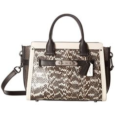 COACH Genuine Snake Coach Swagger 27 (DK/Chalk Black) Handbags ($650) ❤ liked on Polyvore featuring bags and handbags