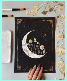 """EMBELLISHED PRINT: """"Blooming Crescent"""" watercolor + acrylic, pressed flowers + gold – Hobbies paining body for kids and adult Aesthetic Painting, Aesthetic Art, Aesthetic Grunge, Aesthetic Vintage, Aesthetic Pictures, Aesthetic Clothes, Cute Canvas Paintings, Canvas Art, Painting Canvas"""