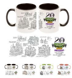 Each coffee mug features design sketches giving you insight into what goes on behind each Spooky Town village design. Mugs have either black, orange or lime green insides depending on the design you select. Halloween Village, 20th Anniversary, Coffee Mugs, Lime, Tableware, Halloween Town, Dinnerware, 20th Birthday, Dishes