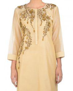 Beige French Knot Embroidered Suit - Joy Mitra - Designers