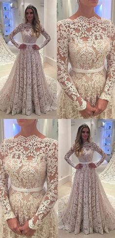 Long Sleeves Lace Wedding Dresses,A line floor length wedding dress