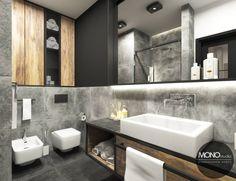 Po więcej inspiracji zapraszamy na Naszą stronę internetową:biuro@monostudio.pl oraz na Facebooka Condo, Wellness Spa, Bathroom Inspiration, Double Vanity, Living Room, Interior Design, Duch, Design Bathroom, Home