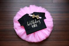 Birthday Outfit Girl 1st Birthday Girl by TheWhiteInviteGifts  This 1st Birthday Girl Outfit including a pink tutu, birthday girl shirt and gold bow is the perfect outfit for her first birthday party or cake smash and is sure to have everyone asking you where you got this precious outfit.