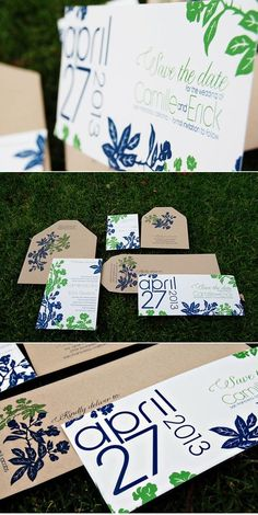 Love the date format on these wedding Invitations, but I would change the leaves to more of a pattern.