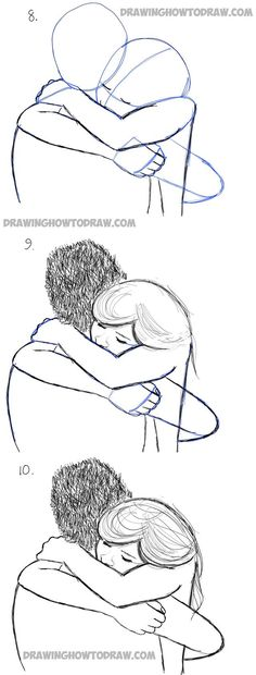 How to draw a hugging couple