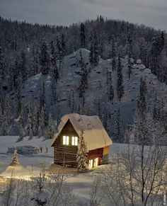 Warm, cozy and secluded Winter cabin. Cabin In The Woods, Into The Woods, Winter Cabin, Cozy Cabin, Winter Homes, Winter Mountain, Green Mountain, Cozy Cottage, Beautiful Homes