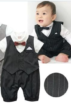 Christening Baptism Wedding Black Suit Black Baby Photography Prop Outfit (3 to 6 months)