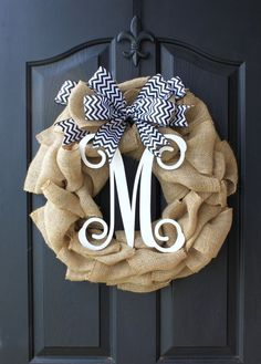 Burlap Wreath - Etsy Wreath - Wreaths for door - Summer wreaths for door - Door Wreath - Monogram wreath