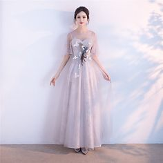 Formal+Evening+Dress+-+Elegant+A-line+Jewel+Floor-length+Tulle+with+Appliques+–+USD+$+89.99