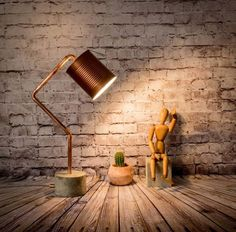 Industrial Concrete Lamp with Copper Pipe