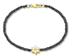 Mata-Hari 9 ct Yellow Gold Diamond Set Flower Charm on Black Spinel Bracelet of 19 cm/7.5 inch