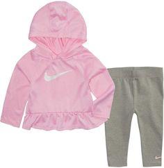 8e4ebebca16b78 Baby Girl Nike Dri-FIT Hooded Peplum Top   Leggings Set