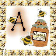 Alfabeto de abejitas con tarro de miel.