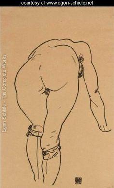 Gebueckter Akt, Rueckenansicht (Nude Bent Over, Back View) - Egon Schiele - www.egon-schiele.net